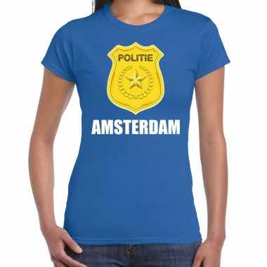 Politie embleem amsterdam carnaval verkleed t shirt blauw voor dames