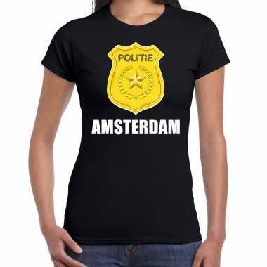Politie embleem amsterdam carnaval verkleed t shirt zwart voor dames