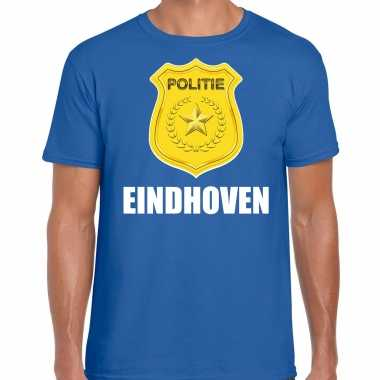 Politie embleem eindhoven carnaval verkleed t shirt blauw voor heren