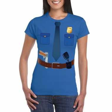 Politie uniform carnavalspak t shirt blauw voor dames