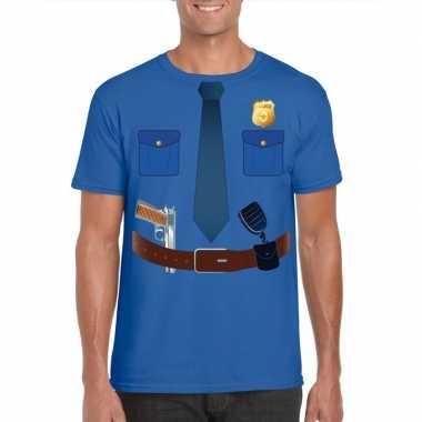 Politie uniform carnavalspak t shirt blauw voor heren