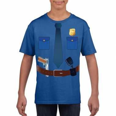 Politie uniform carnavalspak t-shirt blauw voor kinderen
