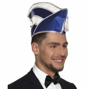 Prins carnaval muts blauw/wit voor heren