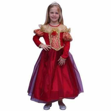 Prinsessen carnavalspak voor meisjes in de kleur rood