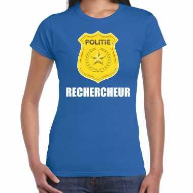 Rechercheur politie embleem carnaval t shirt blauw voor dames