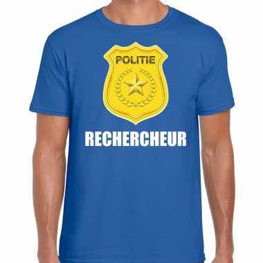 Rechercheur politie embleem carnaval t shirt blauw voor heren