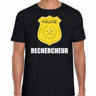 Rechercheur politie embleem carnaval t shirt zwart voor heren