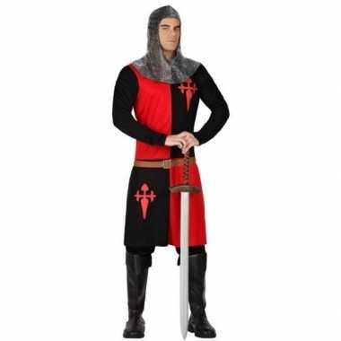 Ridder verkleed carnavalspak zwart/rood voor heren