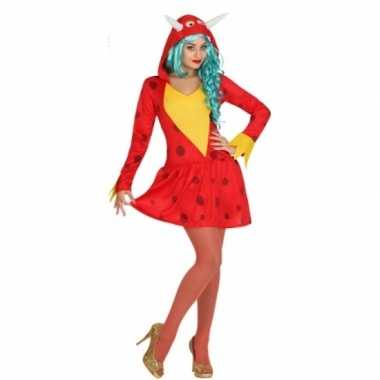 Rode draak carnavalspak voor dames