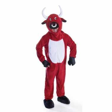 Rode stier carnavalspak voor volwassenen