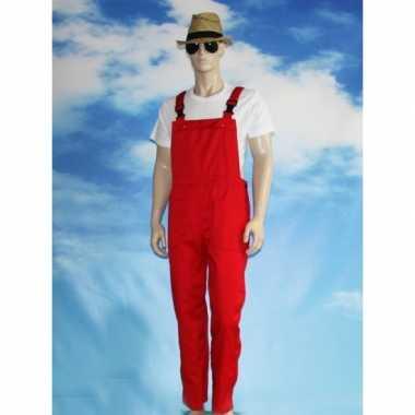 Rode tuinbroek carnavalspakl voor volwassenen