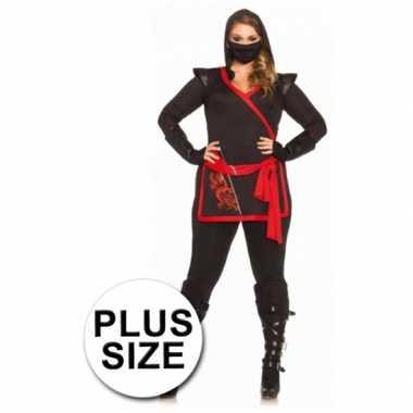 Rood met zwart ninja carnavalspak voor dames