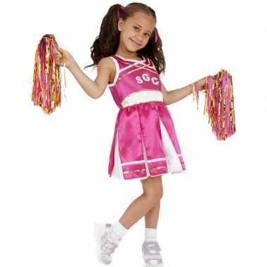 Roze cheerleader carnavalspak