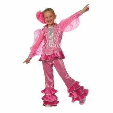 Roze disco carnavalspak kids