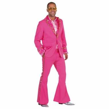 Roze glitter carnavalspak heren
