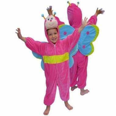 Roze vlinder carnavalspak van pluche