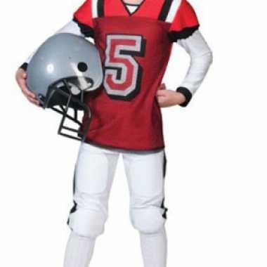 Rugby carnavalspak rood met wit voor kids