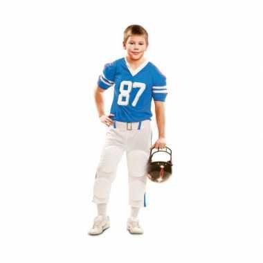 Rugby carnavalspak wit met blauw voor kinderen