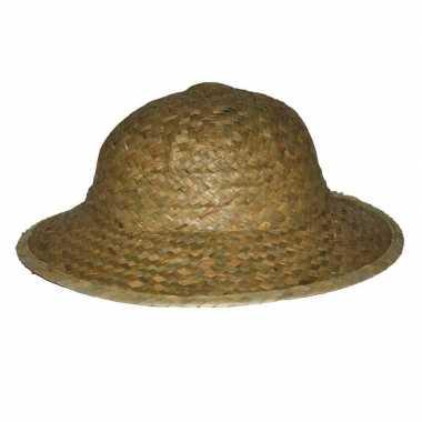 Safarihoed van stro carnaval verkleed hoeden