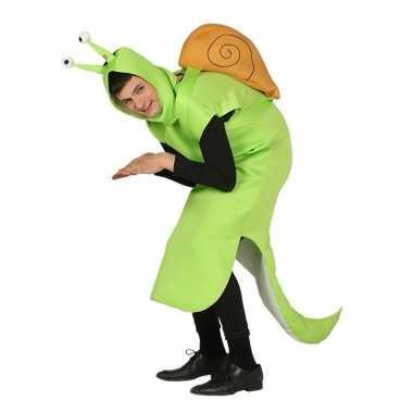 Slak carnavalspak groen voor volwassenen