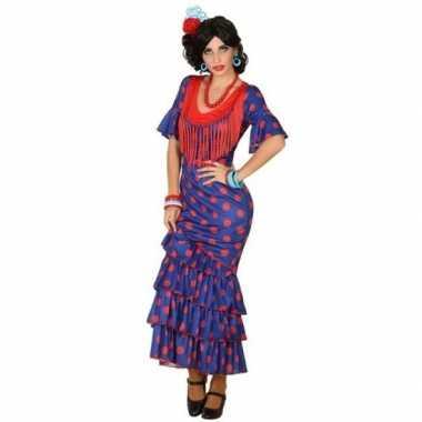 Spaanse flamencodanseres jurk blauw verkleed carnavalspak voor dames