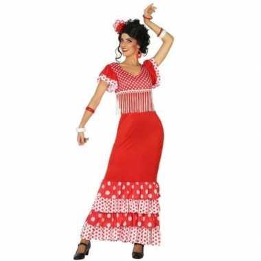 Spaanse flamencodanseres jurk rood verkleed carnavalspak voor dames