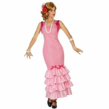 Spaanse flamencodanseres jurk roze verkleed carnavalspak voor dames
