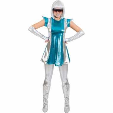 Space carnavalspak blauw/zilver voor dames