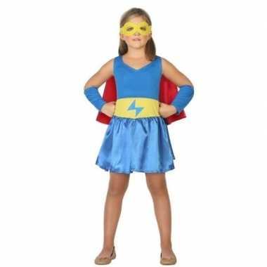 Supergirl jurk/jurkje verkleed carnavalspak voor meisjes
