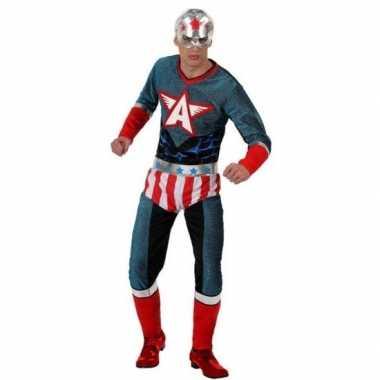 Superheld amerikaanse kapitein verkleed pak/carnavalspak voor heren