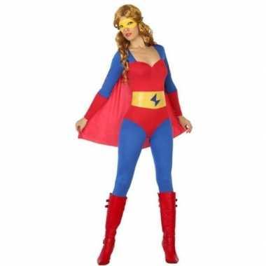 Superheld verkleed pak/carnavalspak blauw/rood voor dames