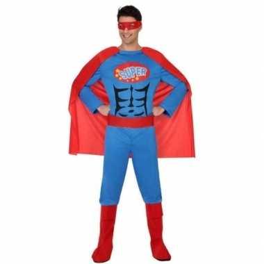 Superheld verkleed pak/carnavalspak blauw/rood voor heren