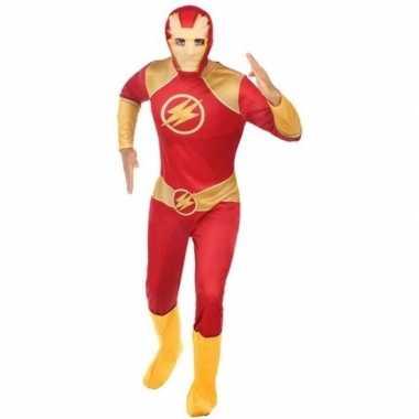 Superheld verkleed pak/carnavalspak rood/goud voor heren