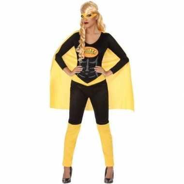 Superheld verkleed pak/carnavalspak zwart/geel voor dames