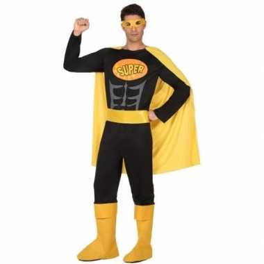 Superheld verkleed pak/carnavalspak zwart/geel voor heren