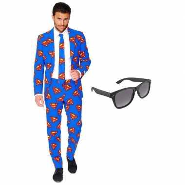 Superman heren carnavalspak maat 58 xxxxl met gratis zonnebril
