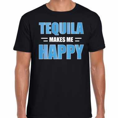 Tequila makes me happy drank t shirt / carnavalspak zwart voor heren