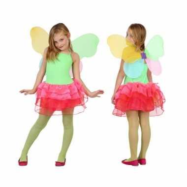 Vlinder carnavalspak voor kids groen/rood
