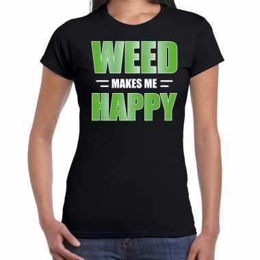 Weed makes me happy t shirt / carnavalspak zwart voor dames