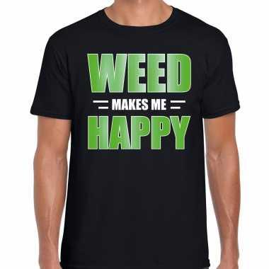 Weed makes me happy t shirt / carnavalspak zwart voor heren