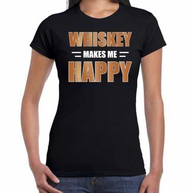 Whiskey makes me happy drank t shirt / carnavalspak zwart voor dames