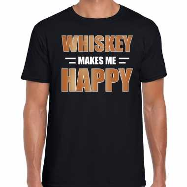 Whiskey makes me happy drank t shirt / carnavalspak zwart voor heren