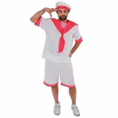 Wit/roze matrozen carnavalspak voor heren