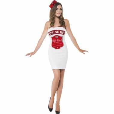 Witte dames carnavalspaks dranklabel
