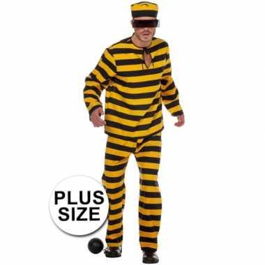 Xl inbreker carnavalspak zwart/geel voor heren