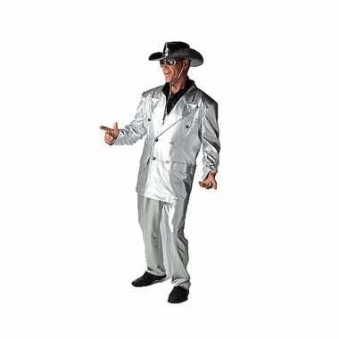 Zilveren bling carnavalspaks voor heren