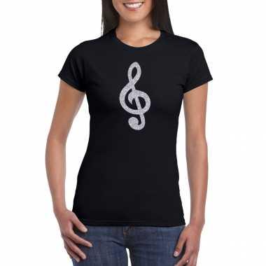 Zilveren muziek noot g sleutel / muziek feest t shirt / carnavalspak zwart dames