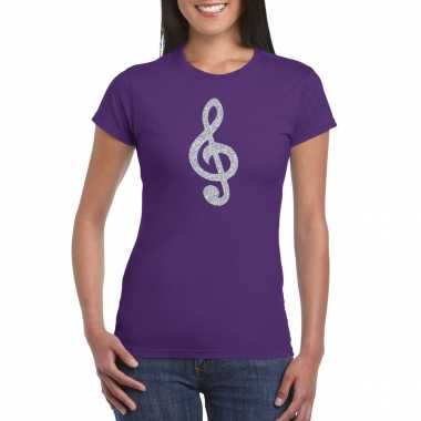 Zilveren muzieknoot g sleutel / muziek feest t shirt / carnavalspak paars dames