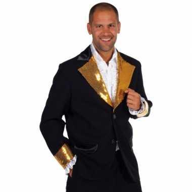 Zwart goud glitter carnavalspak heren