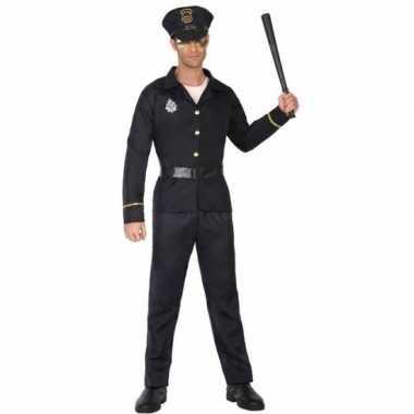 Zwart politie verkleed pak/carnavalspak voor volwassenen
